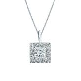 14k White Gold Certified Princess-Cut Diamond Halo Pendant 0.75 ct. tw. (G-H, VS1-VS2)