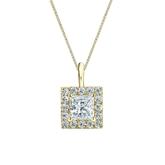 14k Yellow Gold Certified Princess-Cut Diamond Halo Pendant 0.75 ct. tw. (I-J, I1-I2)