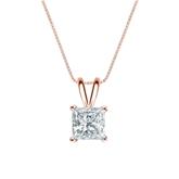 14k Rose Gold 4-Prong Basket Certified Princess-Cut Diamond Solitaire Pendant 1.00 ct. tw. (I-J, I1-I2)