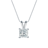 14k White Gold 4-Prong Basket Certified Princess-Cut Diamond Solitaire Pendant 1.00 ct. tw. (I-J, I1-I2)