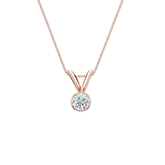 14k Rose Gold Bezel Certified Round-Cut Diamond Solitaire Pendant 0.13 ct. tw. (H-I, SI1-SI2)