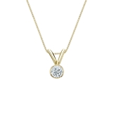 18k Yellow Gold Bezel Certified Round-Cut Diamond Solitaire Pendant 0.13 ct. tw. (I-J, I1-I2)