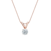 14k Rose Gold 4-Prong Basket Certified Round-Cut Diamond Solitaire Pendant 0.17 ct. tw. (G-H, VS1-VS2)