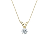 14k Yellow Gold 4-Prong Basket Certified Round-Cut Diamond Solitaire Pendant 0.17 ct. tw. (G-H, VS2)