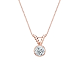 14k Rose Gold Bezel Certified Round-Cut Diamond Solitaire Pendant 0.20 ct. tw. (G-H, VS1-VS2)