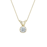 18k Yellow Gold Bezel Certified Round-Cut Diamond Solitaire Pendant 0.20 ct. tw. (J-K, I2)