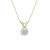 14k Yellow Gold Bezel Certified Round-Cut Diamond Solitaire Pendant 0.25 ct. tw. (G-H, SI1)
