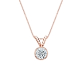 14k Rose Gold Bezel Certified Round-Cut Diamond Solitaire Pendant 0.31 ct. tw. (I-J, I1-I2)