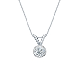14k White Gold Bezel Certified Round-Cut Diamond Solitaire Pendant 0.31 ct. tw. (I-J, I1-I2)
