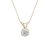 14k Yellow Gold Bezel Certified Round-Cut Diamond Solitaire Pendant 0.31 ct. tw. (I-J, I1-I2)
