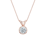 14k Rose Gold Bezel Certified Round-Cut Diamond Solitaire Pendant 0.38 ct. tw. (G-H, SI1)