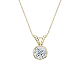18k Yellow Gold Bezel Certified Round-Cut Diamond Solitaire Pendant 0.38 ct. tw. (I-J, I1-I2)