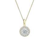 18k Yellow Gold Certified Round-Cut Diamond Halo Pendant 0.38 ct. tw. (I-J, I1-I2)