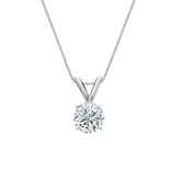 14k White Gold 4-Prong Basket Certified Round-Cut Diamond Solitaire Pendant 0.50 ct. tw. (J-K, I2)