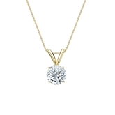 14k Yellow Gold 4-Prong Basket Certified Round-Cut Diamond Solitaire Pendant 0.50 ct. tw. (I-J, I1-I2)