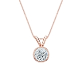 14k Rose Gold Bezel Certified Round-Cut Diamond Solitaire Pendant 0.50 ct. tw. (I-J, I1)
