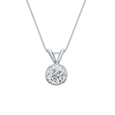 18k White Gold Bezel Certified Round-Cut Diamond Solitaire Pendant 0.50 ct. tw. (H-I, SI1-SI2)