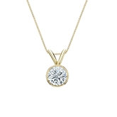 18k Yellow Gold Bezel Certified Round-Cut Diamond Solitaire Pendant 0.50 ct. tw. (I-J, I1-I2)