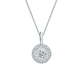 18k White Gold Certified Round-Cut Diamond Halo Pendant 0.50 ct. tw. (H-I, SI1-SI2)