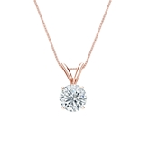 14k Rose Gold 4-Prong Basket Certified Round-Cut Diamond Solitaire Pendant 0.63 ct. tw. (I-J, I1-I2)