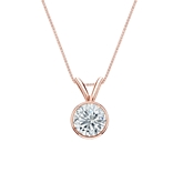 14k Rose Gold Bezel Certified Round-Cut Diamond Solitaire Pendant 0.63 ct. tw. (H-I, SI1-SI2)