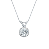 18k White Gold Bezel Certified Round-Cut Diamond Solitaire Pendant 0.63 ct. tw. (H-I, SI1-SI2)