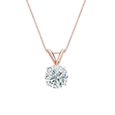 14k Rose Gold 4-Prong Basket Certified Round-Cut Diamond Solitaire Pendant 0.75 ct. tw. (I-J, I1-I2)