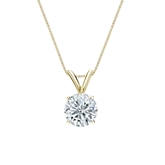 18k Yellow Gold 4-Prong Basket Certified Round-Cut Diamond Solitaire Pendant 0.75 ct. tw. (I-J, I1-I2)