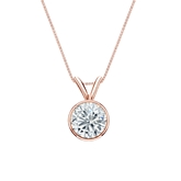14k Rose Gold Bezel Certified Round-Cut Diamond Solitaire Pendant 0.75 ct. tw. (I-J, I1-I2)