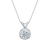 18k White Gold Bezel Certified Round-Cut Diamond Solitaire Pendant 0.75 ct. tw. (I-J, I1-I2)