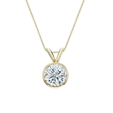 18k Yellow Gold Bezel Certified Round-Cut Diamond Solitaire Pendant 0.75 ct. tw. (G-H, VS2)