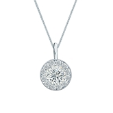 Platinum Certified Round-Cut Diamond Halo Pendant 0.75 ct. tw. (I-J, I1-I2)
