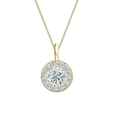 18k Yellow Gold Certified Round-Cut Diamond Halo Pendant 0.75 ct. tw. (I-J, I1-I2)