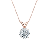 14k Rose Gold 4-Prong Basket Certified Round-Cut Diamond Solitaire Pendant 0.88 ct. tw. (I-J, I1-I2)