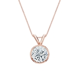 14k Rose Gold Bezel Certified Round-Cut Diamond Solitaire Pendant 0.88 ct. tw. (I-J, I1-I2)