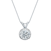 14k White Gold Bezel Certified Round-Cut Diamond Solitaire Pendant 0.88 ct. tw. (I-J, I1-I2)