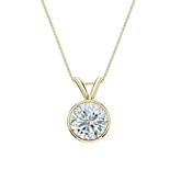 18k Yellow Gold Bezel Certified Round-Cut Diamond Solitaire Pendant 0.88 ct. tw. (I-J, I1-I2)