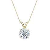 18k Yellow Gold 4-Prong Basket Certified Round-Cut Diamond Solitaire Pendant 1.00 ct. tw. (I-J, I1-I2)