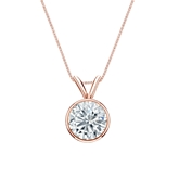 14k Rose Gold Bezel Certified Round-Cut Diamond Solitaire Pendant 1.00 ct. tw. (I-J, I1-I2)
