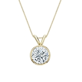 18k Yellow Gold Bezel Certified Round-Cut Diamond Solitaire Pendant 1.00 ct. tw. (I-J, I1-I2)