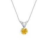 14k White Gold 4-Prong Basket Certified Round-cut Yellow Diamond Solitaire Pendant 0.25 ct. tw. (SI1-SI2)