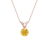 14k Rose Gold 4-Prong Basket Certified Round-cut Yellow Diamond Solitaire Pendant 0.38 ct. tw. (SI1-SI2)