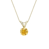 18k Yellow Gold 4-Prong Basket Certified Round-cut Yellow Diamond Solitaire Pendant 0.38 ct. tw. (SI1-SI2)
