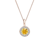 14k Rose Gold Halo Certified Round-cut Yellow Diamond Solitaire Pendant 0.38 ct. tw. (SI1-SI2)