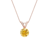14k Rose Gold 4-Prong Basket Certified Round-cut Yellow Diamond Solitaire Pendant 0.50 ct. tw. (SI1-SI2)