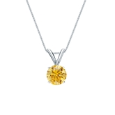Platinum 4-Prong Basket Certified Round-cut Yellow Diamond Solitaire Pendant 0.50 ct. tw. (SI1-SI2)