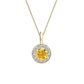 18k Yellow Gold Halo Certified Round-cut Yellow Diamond Solitaire Pendant 0.50 ct. tw. (SI1-SI2)