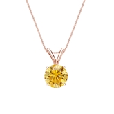 14k Rose Gold 4-Prong Basket Certified Round-cut Yellow Diamond Solitaire Pendant 0.75 ct. tw. (SI1-SI2)