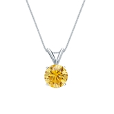 14k White Gold 4-Prong Basket Certified Round-cut Yellow Diamond Solitaire Pendant 0.75 ct. tw. (SI1-SI2)