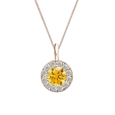14k Rose Gold Halo Certified Round-cut Yellow Diamond Solitaire Pendant 0.75 ct. tw. (SI1-SI2)